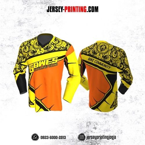 Jersey Gowes Sepeda Kuning Orange Hitam Batik Lengan Panjang