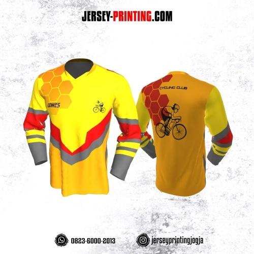 Jersey Gowes Sepeda Kuning Orange Merah Honeycomb Lengan Panjang