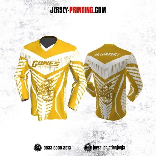 Jersey Gowes Sepeda Kuning Putih Garis Lengan Panjang