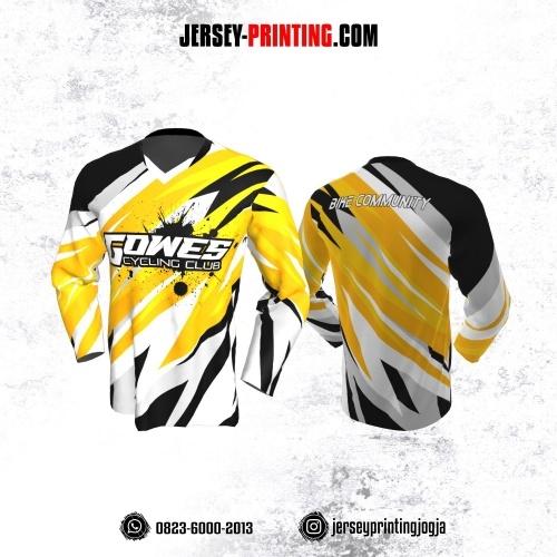 Jersey Gowes Sepeda Kuning Putih Hitam Abstrak Lengan Panjang