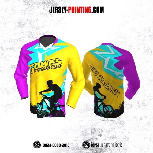 Jersey Gowes Sepeda Kuning Ungu Biru Aqua Lengan Panjang