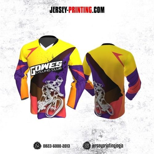 Jersey Gowes Sepeda Kuning Ungu Coklat Orange Lengan Panjang