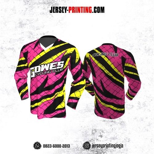 Jersey Gowes Sepeda magenta Hitam Kuning Jaring Kilat Lengan Panjang