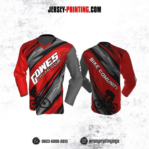 Jersey Gowes Sepeda Merah Abu Lengan Panjang