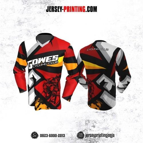 Jersey Gowes Sepeda Merah Abu Orange Hitam Putih Lengan Panjang