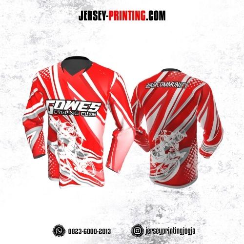 Jersey Gowes Sepeda Merah Abu Zigzag Lengan Panjang