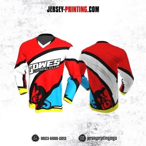 Jersey Gowes Sepeda Merah Biru Putih Lengan Panjang