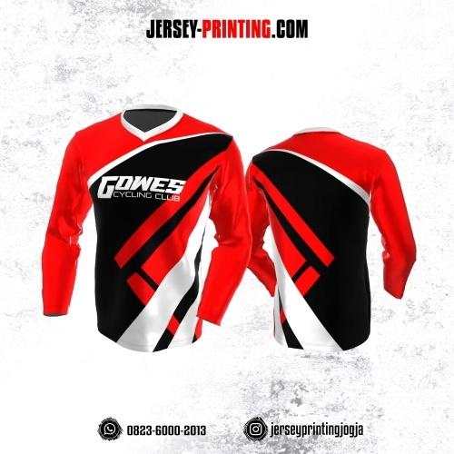 Jersey Gowes Sepeda Merah Corak Hitam Putih Lengan Panjang