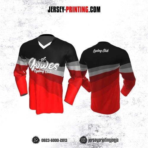 Jersey Gowes Sepeda Merah Hitam Abu Lengan Panjang
