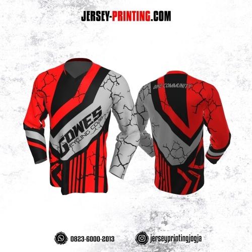 Jersey Gowes Sepeda Merah Hitam ABu Line Lengan Panjang