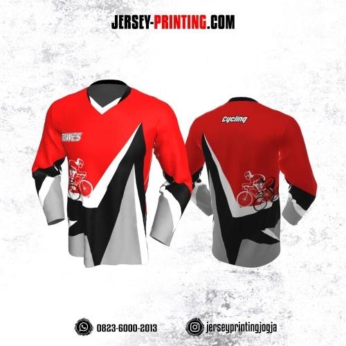 Jersey Gowes Sepeda Merah Hitam Abu Putih Lengan Panjang
