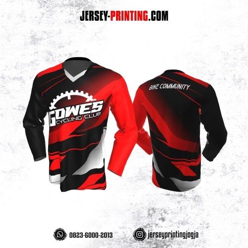 Jersey Gowes Sepeda Merah Hitam Abu Strip Lengan Panjang