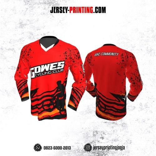Jersey Gowes Sepeda Merah Hitam Bercak Lengan Panjang