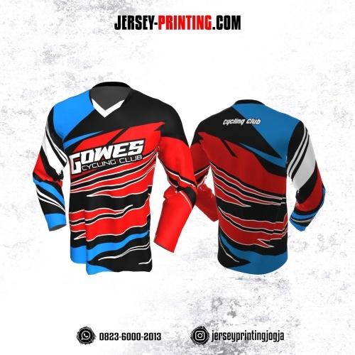 Jersey Gowes Sepeda Merah Hitam Biru Putih Lengan Panjang