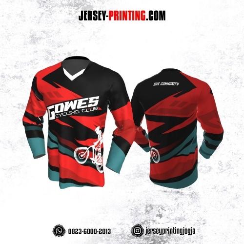 Jersey Gowes Sepeda Merah Hitam Biru Zigzag Lengan Panjang