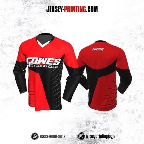 Jersey Gowes Sepeda Merah Hitam Garis Lengan Panjang