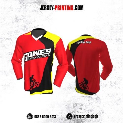 Jersey Gowes Sepeda Merah Hitam Kuning Lengan Panjang
