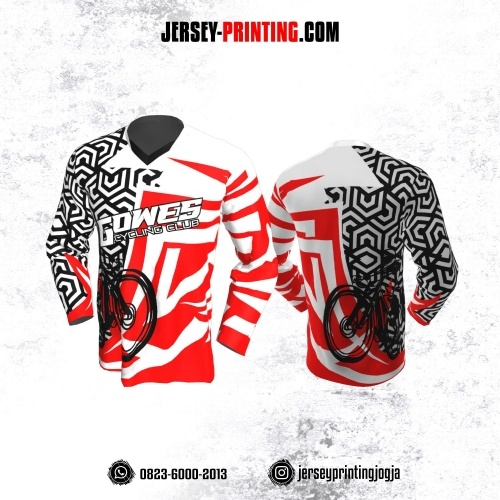 Jersey Gowes Sepeda Merah Hitam Putih Hexagon Lengan Panjang
