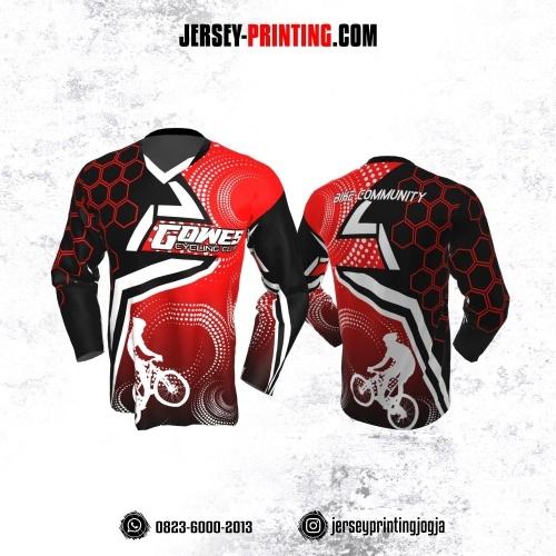 Jersey Gowes Sepeda Merah Hitam Putih Honeycomb Lengan Panjang