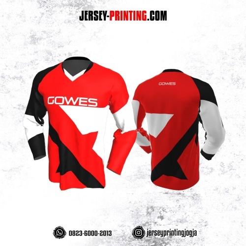 Jersey Gowes Sepeda Merah Hitam  Putih Lengan Panjang