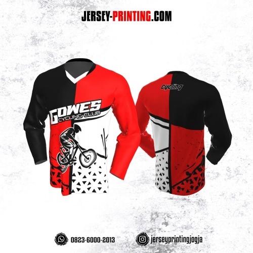 Jersey Gowes Sepeda Merah Hitam Putih Segitiga Lengan Panjang