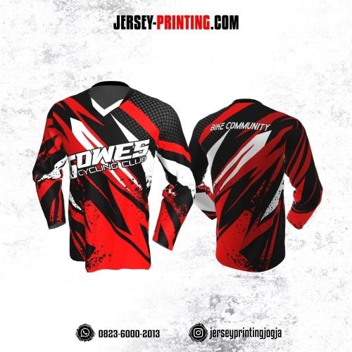 Jersey Gowes Sepeda Merah Hitam Putih Zigzag Lengan Panjang