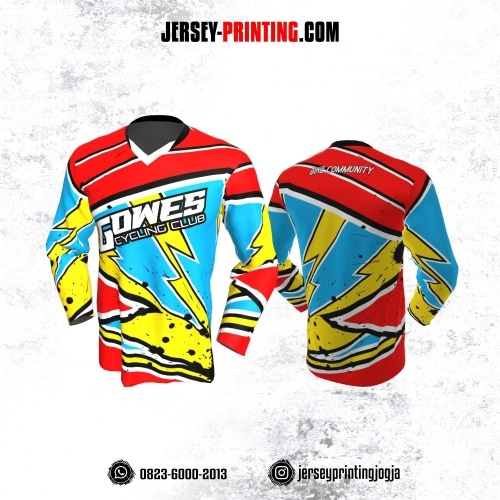 Jersey Gowes Sepeda Merah Kuning Biru Strip Kilat Lengan Panjang