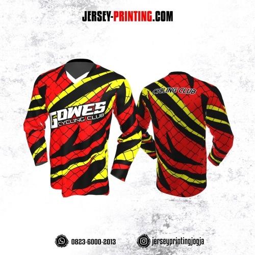 Jersey Gowes Sepeda Merah Kuning HItam Jaring Kilat Lengan Panjang