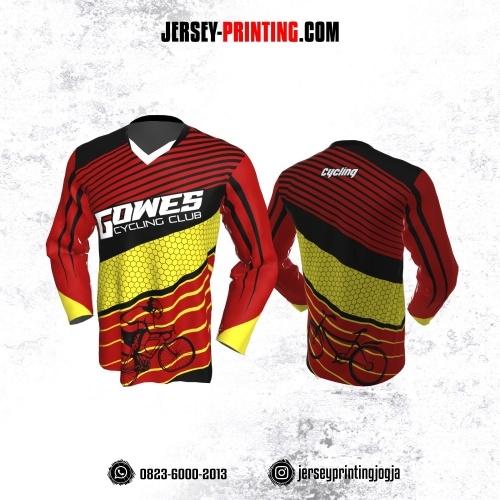 Jersey Gowes Sepeda Merah Kuning Hitam Strip Honeycomb Lengan Panjang