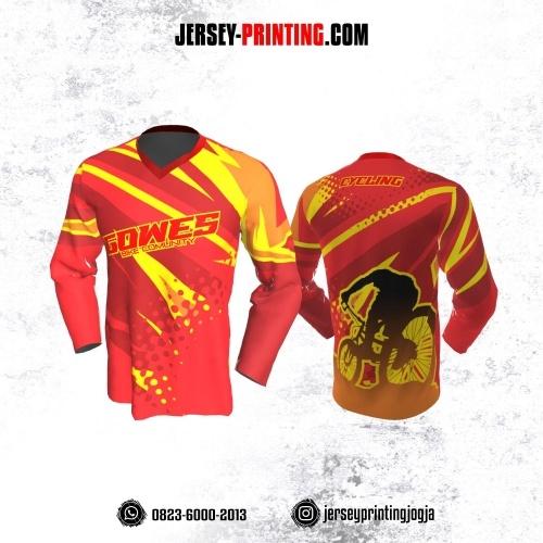 Jersey Gowes Sepeda Merah Kuning Lengan Panjang