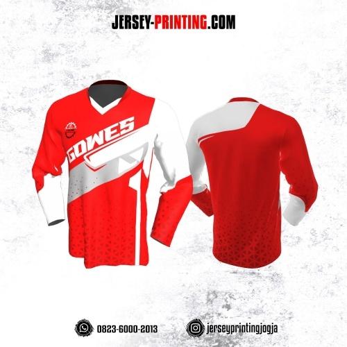 Jersey Gowes Sepeda Merah Putih Abu Lengan Panjang