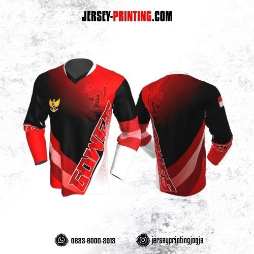 Jersey Gowes Sepeda Merah Putih Burung Garuda Lengan Panjang