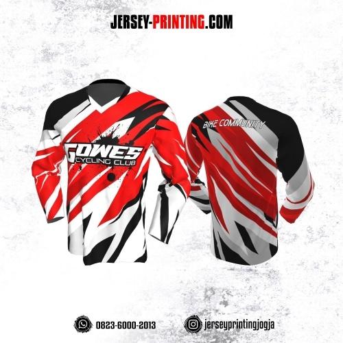 Jersey Gowes Sepeda Merah Putih Hitam Abstrak Lengan Panjang