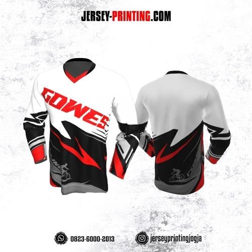 Jersey Gowes Sepeda Merah Putih Hitam Abu Lengan Panjang