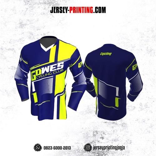 Jersey Gowes Sepeda Navy Kuning Garis  Lengan Panjang