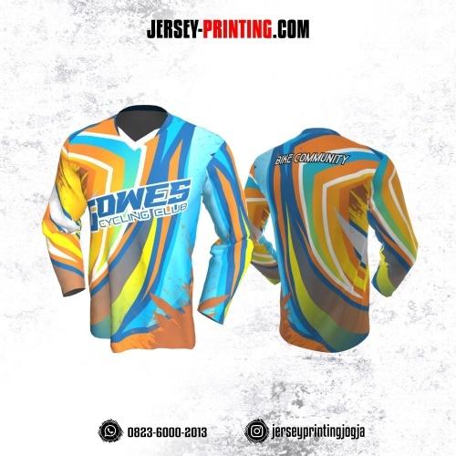 Jersey Gowes Sepeda Orange Biru Kuning Lengan Panjang