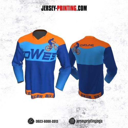 Jersey Gowes Sepeda Orange Biru Lengan Panjang