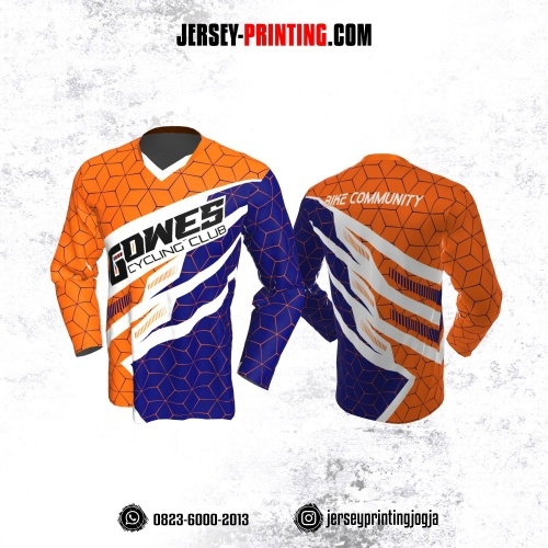 Jersey Gowes Sepeda Orange Biru Tua Putih Garis 3D Lengan Panjang