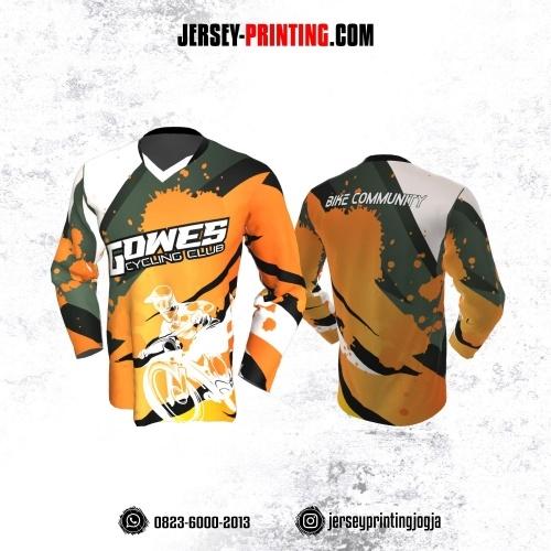 Jersey Gowes Sepeda Orange Hijau Hitam Putih Lengan Panjang