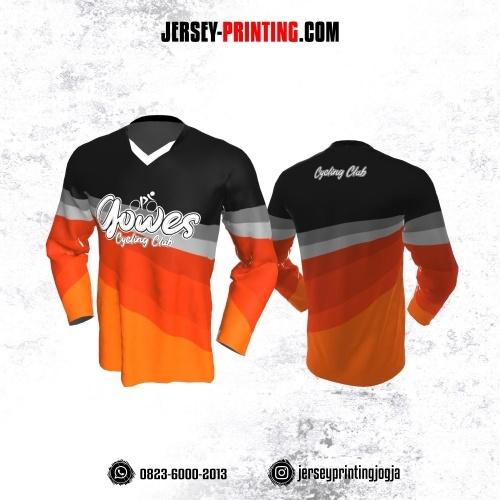 Jersey Gowes Sepeda Orange Hitam Abu Lengan Panjang