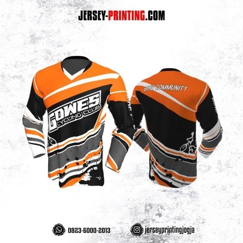Jersey Gowes Sepeda Orange Hitam Abu Putih Lengan Panjang