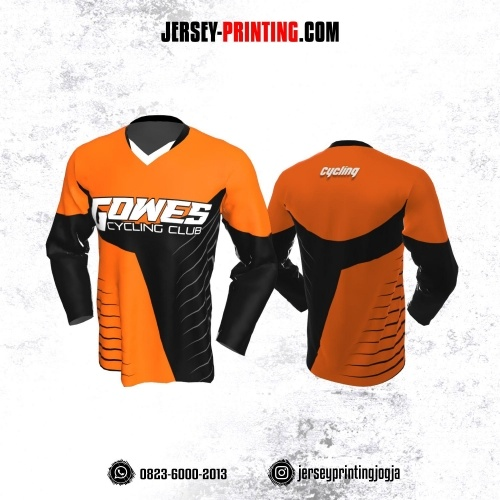Jersey Gowes Sepeda Orange Hitam Garis Lengan Panjang