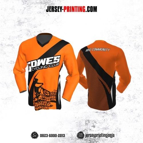 Jersey Gowes Sepeda Orange Hitam Kotak Lengan Panjang