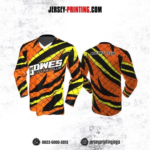 Jersey Gowes Sepeda Orange Hitam Kuning Jaring Kilat Lengan Panjang