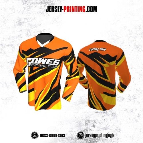 Jersey Gowes Sepeda Orange Hitam Kuning Lengan Panjang