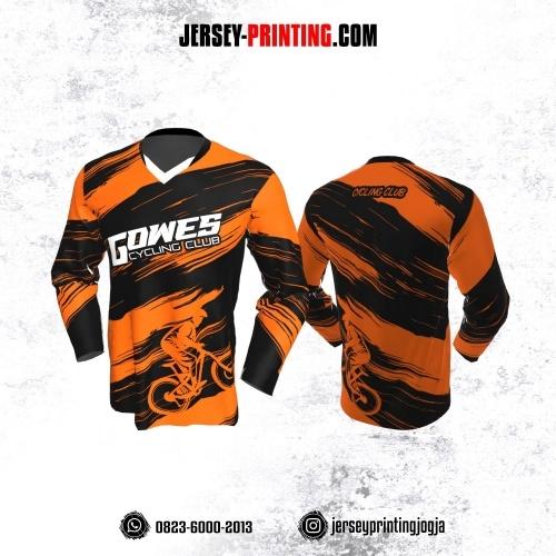 Jersey Gowes Sepeda Orange Hitam Lengan Panjang