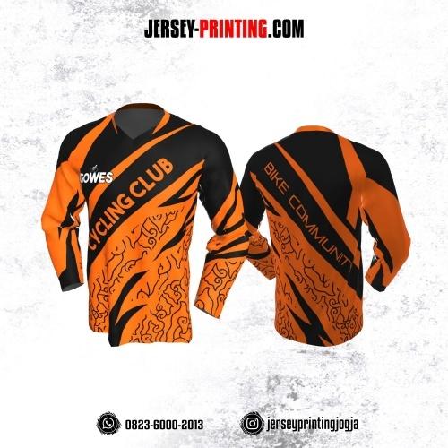 Jersey Gowes Sepeda Orange Hitam  Mega Mendung Lengan Panjang