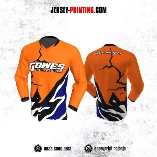 Jersey Gowes Sepeda Orange Hitam Navy Lengan Panjang