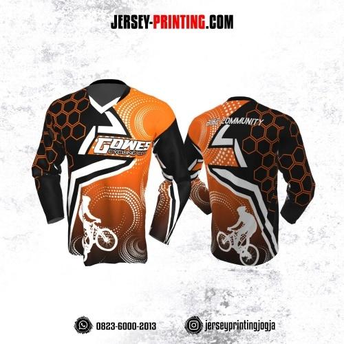 Jersey Gowes Sepeda Orange Hitam Putih Honeycomb Lengan Panjang