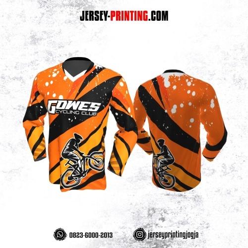 Jersey Gowes Sepeda Orange Hitam Putih Lengan Panjang